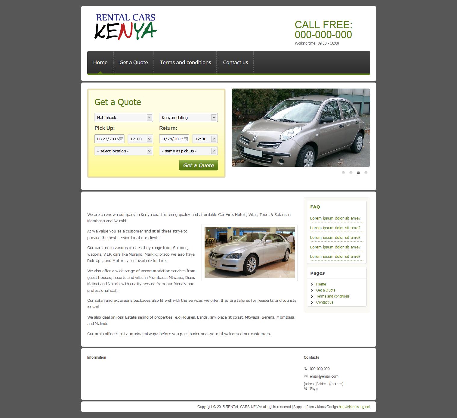 Изграждане на евтин сайт на рент а кар